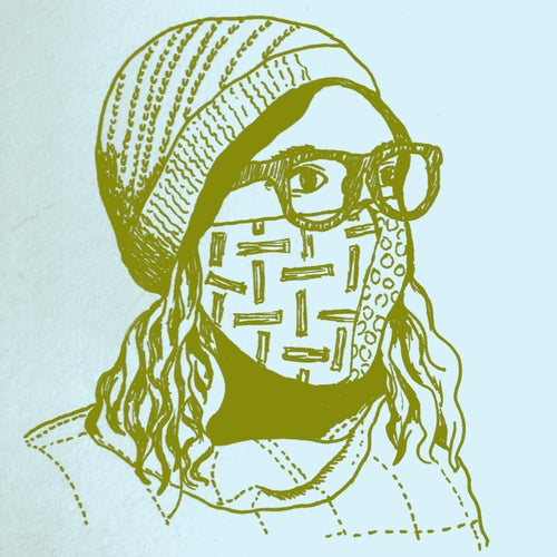 drawing of person wearing hat and face mask with medium-length wavy hair and floppy turtleneck with dotted lines, and glasses; background is light aqua and drawing is in green